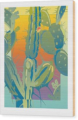 Sunset Cactus Wood Print