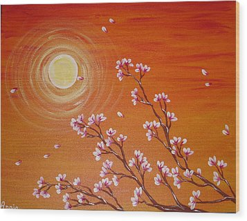 Sunset Cherry Blossoms Wood Print by Angie Butler