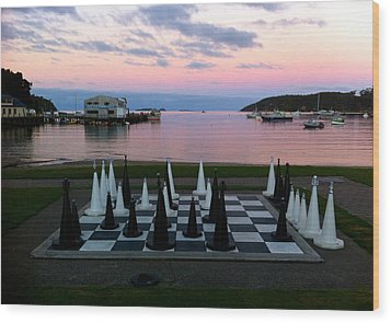 Sunset Chess At Half Moon Bay Wood Print by Venetia Featherstone-Witty