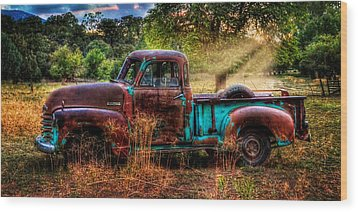 Sunset Chevy Pickup Wood Print by Ken Smith