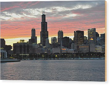 sunset Chicago Wood Print by David Flitman