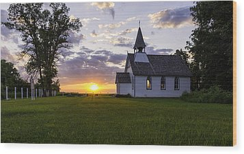 Sunset Church Wood Print