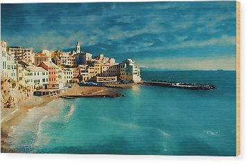 Wood Print featuring the painting Sunset Cinque Terre by Douglas MooreZart