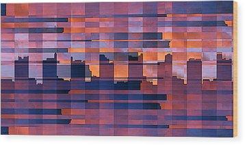 Sunset City Wood Print by Ben and Raisa Gertsberg