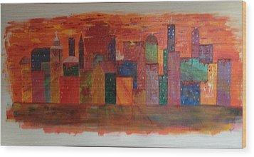 Sunset City Wood Print by Judi Goodwin