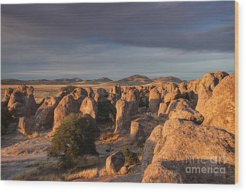 Wood Print featuring the photograph Sunset City Of Rocks by Martin Konopacki