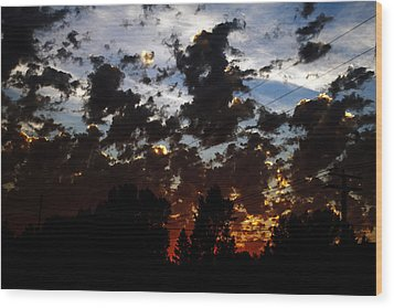 Sunset Clouds Wood Print