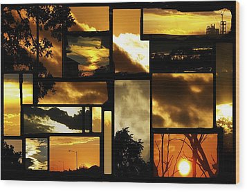 Sunset Collage Wood Print by Cherie Haines