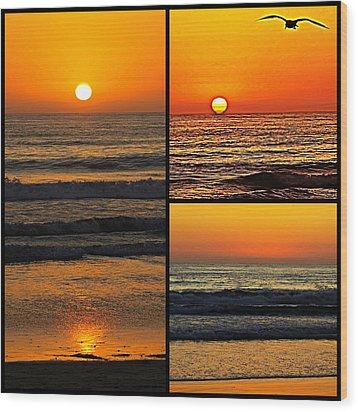 Sunset Collage Wood Print by Sharon Soberon