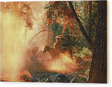Sunset Cowboy Wood Print by Diane Bohna