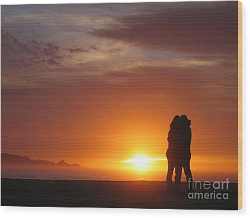 Wood Print featuring the photograph Sunset Cuddle by James B Toy