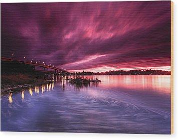 Sunset Drift Wood Print by Jennifer Casey