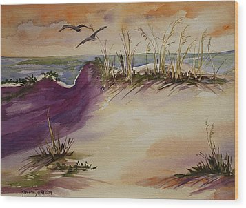 Wood Print featuring the painting Sunset Dunes by Roxanne Tobaison