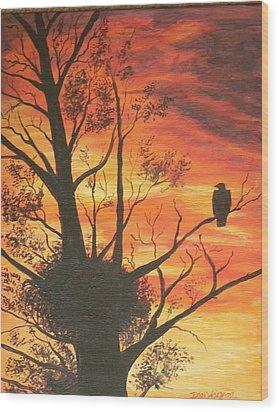 Sunset Eagle Wood Print by Dan Wagner