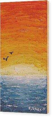 Sunset Wood Print by Edgar Torres