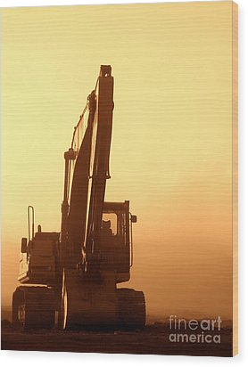 Sunset Excavator Wood Print