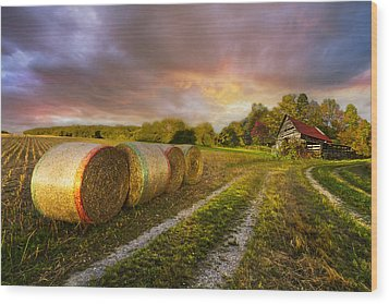 Sunset Farm Wood Print by Debra and Dave Vanderlaan