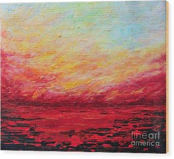 Sunset Fiery Wood Print by Teresa Wegrzyn