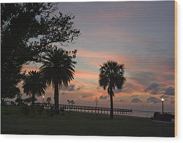 Wood Print featuring the photograph Sunset Fisherman by Judy  Johnson