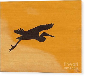 Wood Print featuring the drawing Sunset Flight by D Hackett