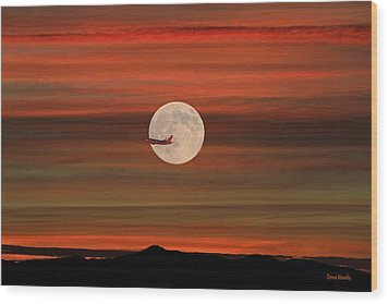 Sunset Flight With Full Moon Wood Print