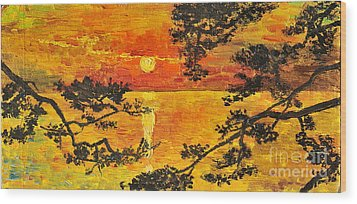 Wood Print featuring the painting Sunset For My Parents by Teresa Wegrzyn