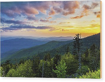Sunset From Clingmans Dome Wood Print
