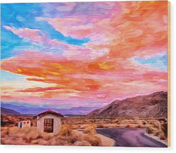 Sunset From Palm Canyon Wood Print by Michael Pickett