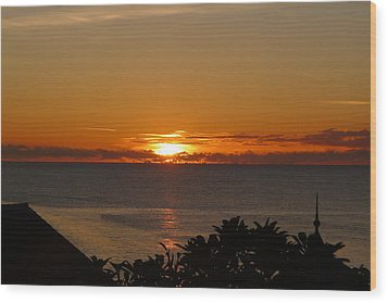 Sunset From Terrace - St. Lucia 2 Wood Print