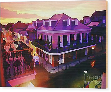Sunset From The Balcony In The French Quarter Of New Orleans Wood Print by John Malone