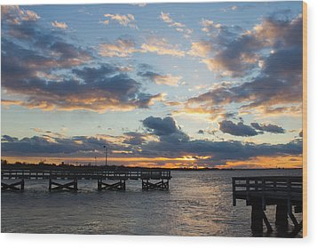 Sunset From The Fishing Piers Wood Print