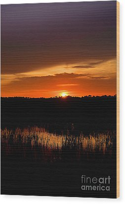 Wood Print featuring the photograph Sunset From The Huntington Beach Causeway by Kathy Baccari