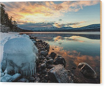 Wood Print featuring the photograph Sunset Frozen by Aaron Aldrich