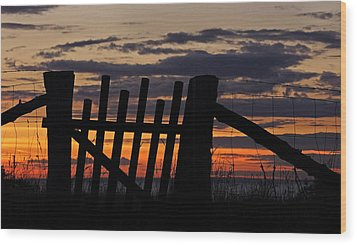 Sunset Gate Wood Print by Inge Riis McDonald