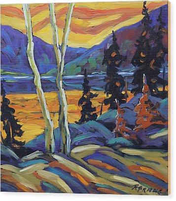 Sunset Geo Landscape Original Oil Painting By Prankearts Wood Print by Richard T Pranke