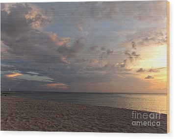 Sunset Grand Cayman Wood Print by Peggy Hughes