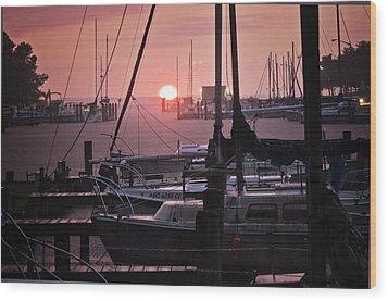 Sunset Harbor Wood Print by Kelly Reber