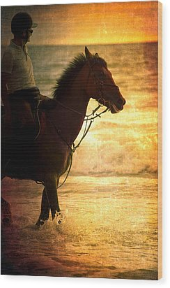 Sunset Horse Wood Print by Loriental Photography