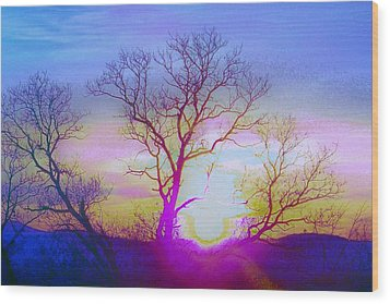 Wood Print featuring the photograph sunset I by Shirley Moravec