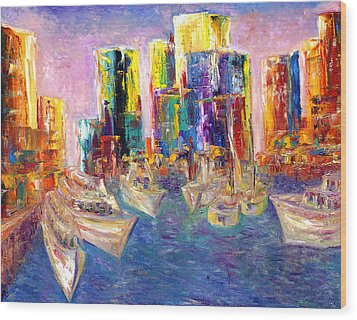 Sunset In A Harbor Wood Print