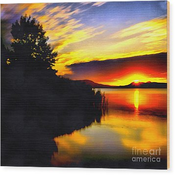Sunset In Balaton Lake Wood Print by Odon Czintos