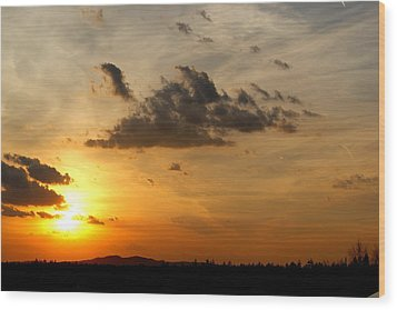 Sunset In Bavarian Forest Wood Print by Adam  S