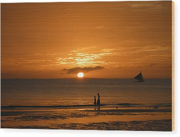Sunset In Boracay Wood Print by Victoria Lakes