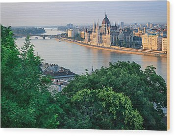 Sunset In Budapest Wood Print