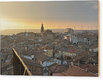 Sunset In Calahorra From The Bell Tower Of Saint Andrew Church Wood Print by RicardMN Photography