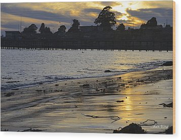 Wood Print featuring the photograph Sunset In Capitola by Alex King