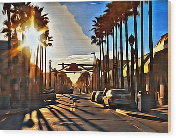 Sunset In Daytona Beach Wood Print