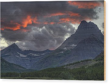 Sunset In Glacier Wood Print