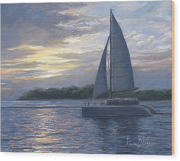 Sunset In Key West Wood Print by Lucie Bilodeau