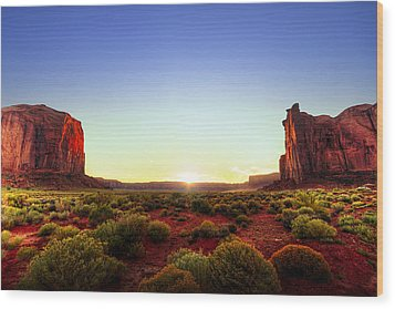 Sunset In Monument Valley Wood Print by Alexey Stiop